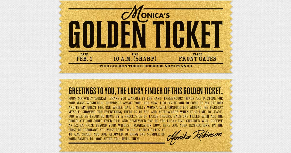 This is a graphic of Lucrative Willy Wonka Golden Ticket Printable